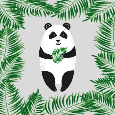 Фотообои Симпатичный медведь панда. Векторная иллюстрация.