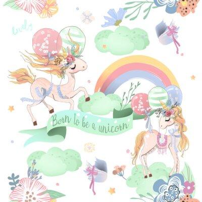 Фотообои Симпатичные единороги бесшовные модели. Детский рисунок с единорогами, цветами, воздушными шарами, облаками и радугой