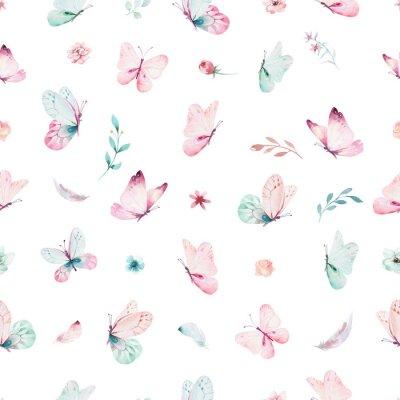 Фотообои Симпатичный акварельный единорог бесшовные модели с цветами. Магические модели единорога. Принцесса радуги текстуры. Модный розовый конский конь.