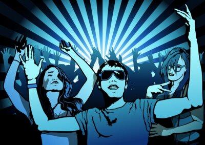 Фотообои Танцы людей на Disco Party - иллюстрации, вектор