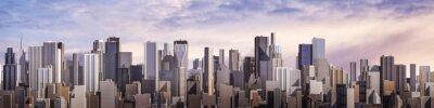 Фотообои Day city panorama / 3D render of daytime modern city under bright sky