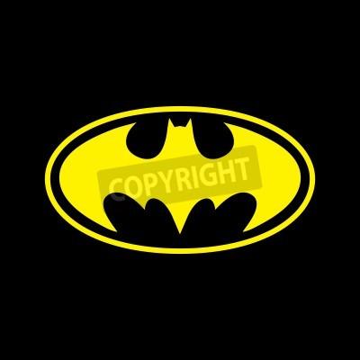 Фотообои DC Comics супергероя Бэтмена логотип желтый на черном фоне