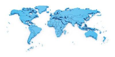 Фотообои Фрагмент карты мира с национальными границами, 3D визуализации