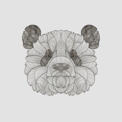 Фотообои Деталь zentangle. Boho рисованной послойно панду портрет. Векторная иллюстрация.