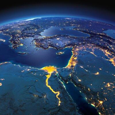 Фотообои Подробная Земли. Африка и Ближний Восток в лунную ночь