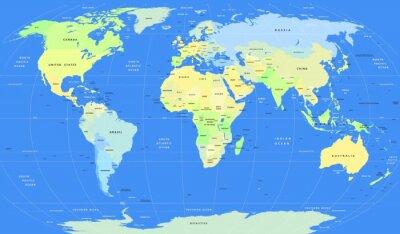 Фотообои Подробные векторные Политическая карта мира