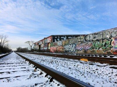 Фотообои Детройт, Мичиган железнодорожные пути и снег - пейзаж цвет фото
