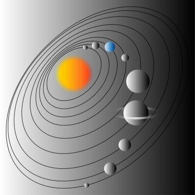 Фотообои Схема Солнечной системы. Иллюстрация структуры Солнечной системы. Земля голубой планеты.