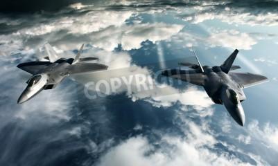Фотообои Цифровые изображения военной плоскости делает полет в высокой позиции
