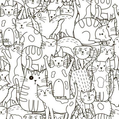 Фотообои Doodle кошек бесшовные модели. Черно-белый фон милые кошки
