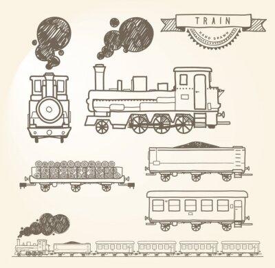 Фотообои Doodle train. EPS8.