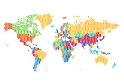 Фотообои Пунктирные карта мира шестиугольных точек