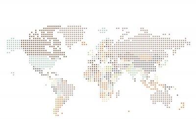 Фотообои Пунктирные карта мира квадратных точек