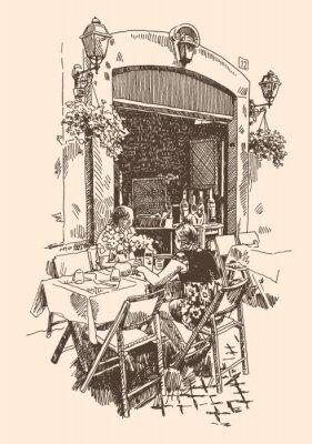 Фотообои рисунок европейского уличного кафе на открытом воздухе в Риме, Италия