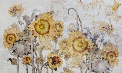 Фотообои Drawing of sunflowers, illustration of flowers. Flowers for wallpaper, photo wallpaper, mural, card, postcard. Beautiful wallpaper design.