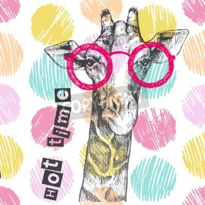 Фотообои Нарисовано руками жирафа. Яркие очки жирафа - хипстер. Горячее время. Летняя печать на одежде, обуви, футболке, раглане. Вектор
