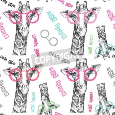 Фотообои Нарисовано руками жирафа. Яркие очки жирафа - хипстер. Горячее время. Летняя печать на одежде, обуви, футболке, раглане. Вектор. Узор для текстиля или бумаги