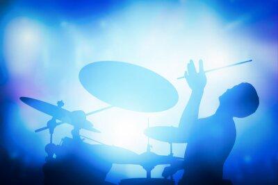 Фотообои Ударник игры на барабанах в музыкальном концерте. Клубные огни