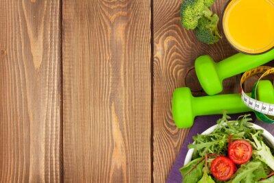 Фотообои Dumbells, рулетка и здоровая пища. Фитнес и здоровье