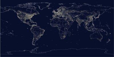 Фотообои город Земли освещает политическую карту