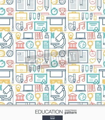Фотообои Образование обои. Школа и университет подключены бесшовные модели. Плитка текстур с тонкой линейкой встроенных веб-иконок. Векторные иллюстрации. Абстрактный фон электронной почты для мобильного прило