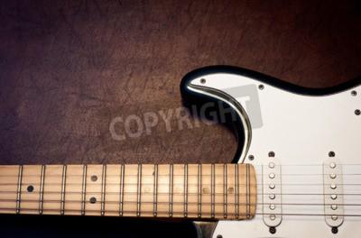 Фотообои Тело электрической гитары и шеи на деревянном фоне