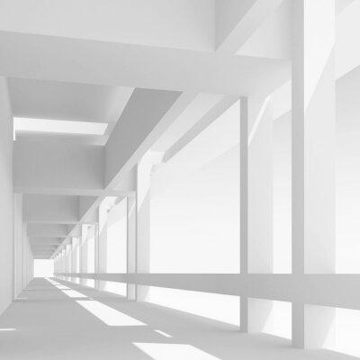 Фотообои Пустой белый коридор перспектива, 3d иллюстрации