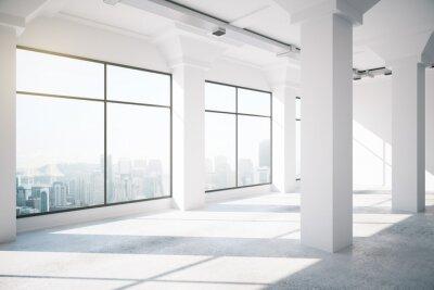 Фотообои Пустой белый интерьер мансарды с большими окнами, 3D визуализации