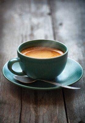 Фотообои Эспрессо кофе в зеленой чашке, селективный фокус