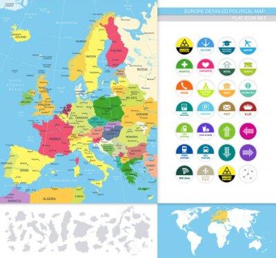 Фотообои Европа подробная политическая map.Flat набор иконок