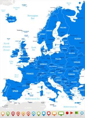 Фотообои Европа - карты и навигация icons.Highly подробные векторные illustration.Image содержит следующие слои: земельные контуры, названия стран и земли, названия городов, имена объектов, вода навигации икон