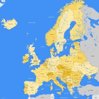 Фотообои Europe map cities