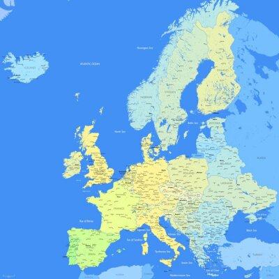 Фотообои Карта Европы цвет