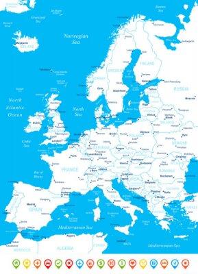 Фотообои Европа - карта, навигационные иконки - illustration.Image содержит следующие слои: земельные контуры, названия стран и земли, названия городов, имена объектов, вода навигации иконы.