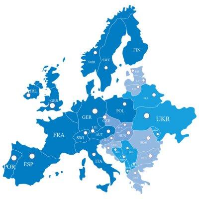 Фотообои Европейская карта с регионами на белом фоне