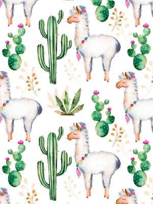 Фотообои exture с высоким качеством ручной росписью акварельными элементов для вашего дизайна с кактусом растениями, цветами и lama.For вашего уникального творения, обои, фон, блоги, шаблон, приглашения и мног