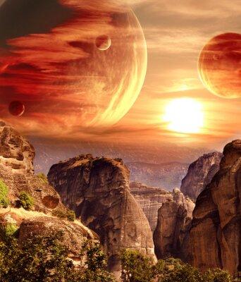 Фотообои Фантастический пейзаж с планеты, горы, закат