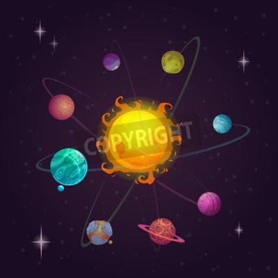 Фотообои Фантазия Солнечной системы, чужие планеты и звезды, векторные иллюстрации пространство
