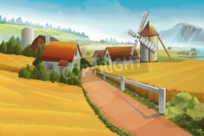 Фотообои Ферма деревенский пейзаж фон