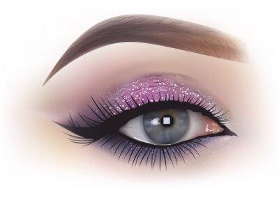 Фотообои Мода женщина макияж глаз - подробные реалистичные иллюстрации, вектор