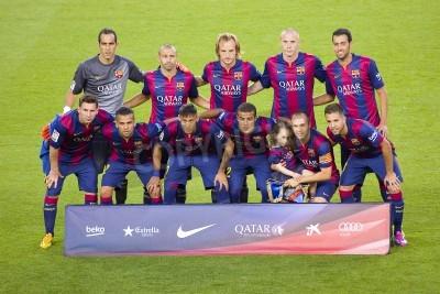 Фотообои FCB игроки позируют для фотографий на Гампер товарищеского матча между ФК Барселона и клуб Леон FC, окончательный счет 6-0, 18 августа 2014 года, в Камп Ноу, Барселона, Испания
