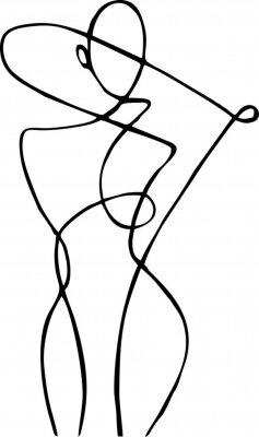 Фотообои Female figure, drawn in one line