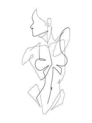 Фотообои Female Figure One Continuous Line Vector Graphic Illustration