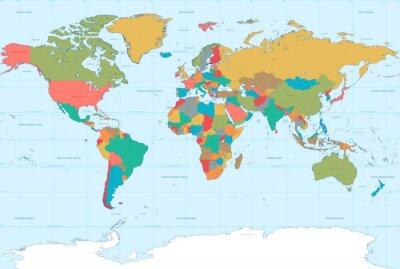 Фотообои Flat Colors World Map