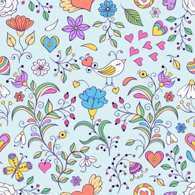 Фотообои Цветочный фон с птицей и цветами
