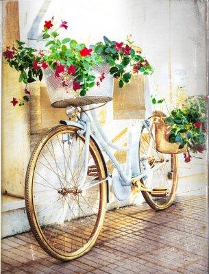 Фотообои цветочный велосипед - старинные карты