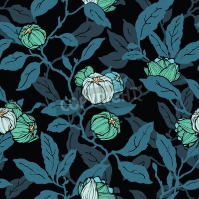 Фотообои Floral seamless pattern. Abstract ornamental flowers. Flourish leaves background