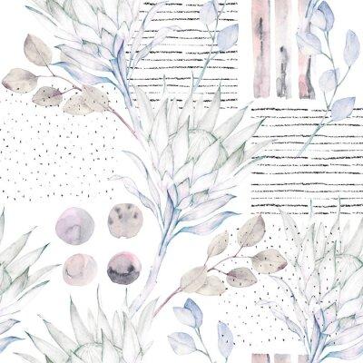 Фотообои Цветочный бесшовный узор. Абстрактные акварель иллюстрации. Гранж фон