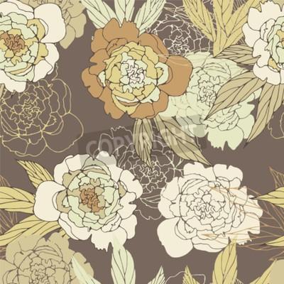 Фотообои Floral seamless pattern with peony.