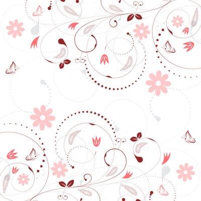 Фотообои Цветочные фон вектор с классическим цветочным узором и бабочками.